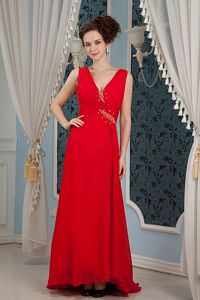 V-neck Beading Red Military Ball Gowns Cheap with Brush Train