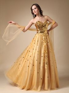 Gold A-line Sweetheart Sequins Formal Dress for Military Ball