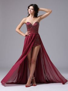 Beaded Sweetheart High-low Burgundy Military Ball Dresses