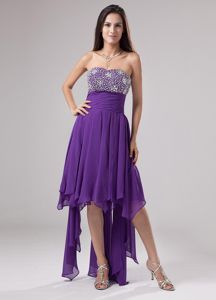 Purple Beaded Strapless Military Ball Dress with Asymmetrical Ruffles