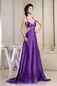 Beaded Straps Purple Dresses for the Military Ball with Cool Back