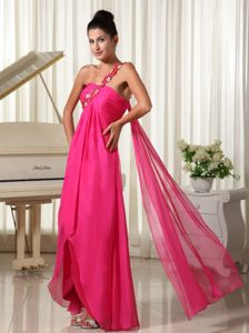 Single Shoulder Hot Pink High-low Military Ball Gown with Watteau Train