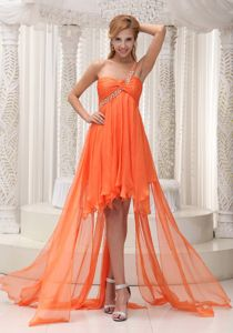 Beading One Shoulder Ruched Orange High-low Military Ball Attire