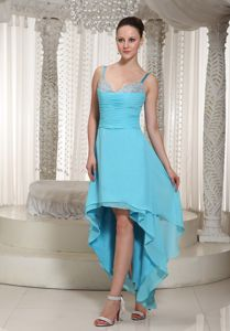 High-low Aqua Spaghetti Straps Beaded Military Ball Gowns Cheap