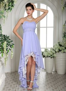 Sweetheart High-low Lavender Evening Gowns for Military Ball