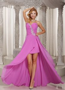 High-low Lilac Sweetheart Appliques Military Ball Formal Dresses
