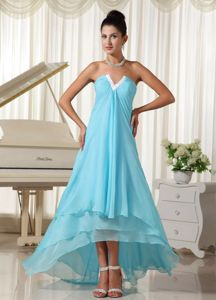 V-neck Baby Blue High-low Layered Dresses for The Military Ball
