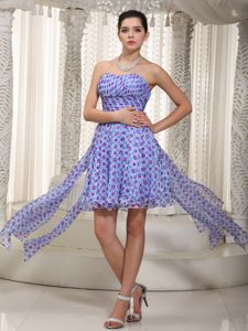 Empire Sweetheart High-low Printed Ruched Military Ball Dress