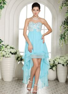 Military Ball Gowns with Appliques Sweetheart High-low Aqua Blue