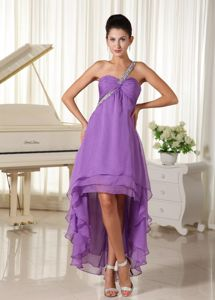 Beaded One Shoulder High-low Gown for Military Ball in Purple