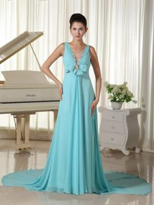 V-neck Aqua Blue Evening Gowns for Military Ball with Bowknot