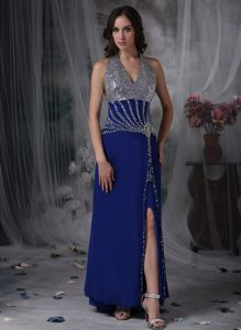 Beading Halter Peacock Blue Gown for Military Ball with Side Slit