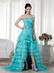 Turquoise Sweetheart Brush Train High-low Military Ball Dress