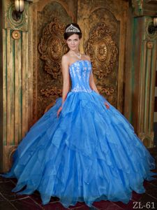 Strapless Floor-length Appliques Blue Gown for Military Ball