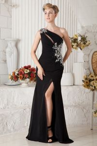 Black Beading One Shoulder Gown for Military Ball in Empire Attached Brush