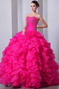 Coral Red Princess Beading and Ruffles Formal Dress for Military Ball