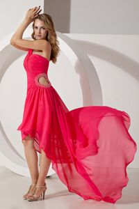 Hot Pink One Shoulder High-low Formal Dress for Military Ball with Beading