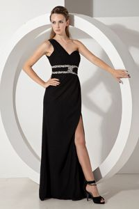Black One Shoulder Formal Dresses with Silver Beading Waistband