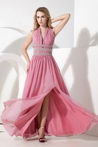 Rose Pink Ruching Halter Beading Evening Gowns for Military Ball