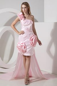 Baby Pink Flowers One Shoulder Detachable Hi-Lo Formal Dresses