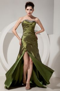 Olive Green Beading and Ruching Gown for Military Ball in Sheath