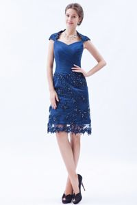 Blue Sheath Square Embroidery with Beading Gown for Military Ball