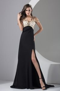 Beading and High Slit Military Ball Formal Dresses with Cool Neckline