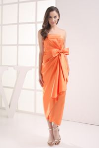 Column Strapless Bow Satin Ruching Bridesmaid Dress in Orange