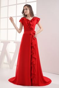 V-neck with Short Sleeves for Red Bow Military Ball Formal Dresses