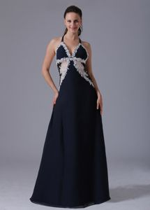 Halter and White Appliques Decorated Bust Prom Dress in Navy Blue