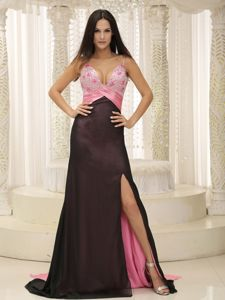 Straps Beaded Decorated Bust and Ruching Gown for Military Ball