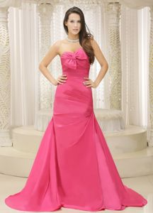New Design Rose Pink Ruched Bowknot Formal Dress for Military Ball