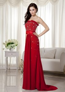 Beading Wine Red Wonderful Chiffon Military Ball Gowns with Bowknot