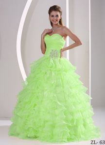 Appliques Wonderful Ruffled Ruche Quinceanera Military Ball Gown
