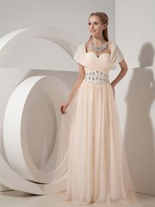 Sweetheart Champagne Beaded Superb Chiffon Military Ball Dresses