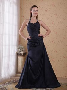 Princess Superb Halter Taffeta Beaded Military Dresses in Black