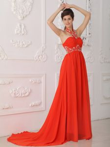 Halter Red Chiffon Superb Court Train Beaded Military Ball Gowns