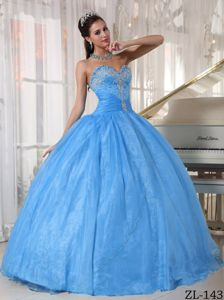 Baby Blue Sweetheart Superb Appliques Military Ball Dresses Cheap