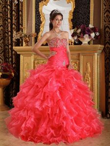 Organza Superb Sweetheart Red Gown for Military Ball Beaded 2013
