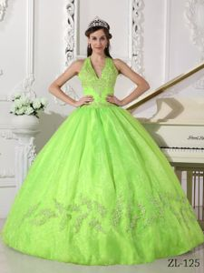 Halter Superb Yellow Green Military Ball Attires with Appliques