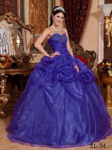 Purple Organza Sweetheart Superb Military Ball Gown Dress Beaded