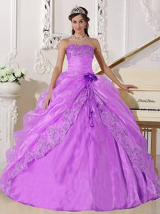 Lavender Beaded Superb Strapless Embroidery Military Ball Dresses