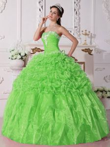 Spring Green Beaded Stunning Military Ball Attire with Embroidery