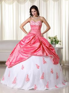 Sweetheart Stunning Appliques Watermelon and White Military Gown