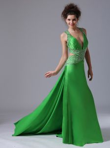 Graceful Watteau Train Spring Green Military Ball Dress with V-neck