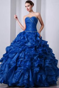 Beaded Blue Attractive Organza Sweetheart Ruffled Military Dresses
