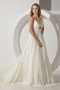 Brush Train White Charming Empire Chiffon Military Gown with Straps