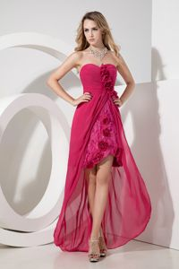 Hot Pink Lace High-low Charming Hand Made Flower Military Ball Gown