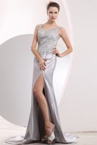 Clearance Taffeta Sliver Scoop Beaded High Slit Military Ball Dress