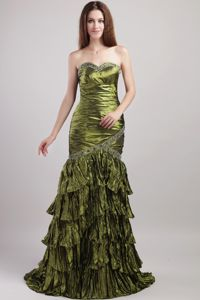 Olive Green Sweetheart Beading Lovely Military Ball Gowns Ruched